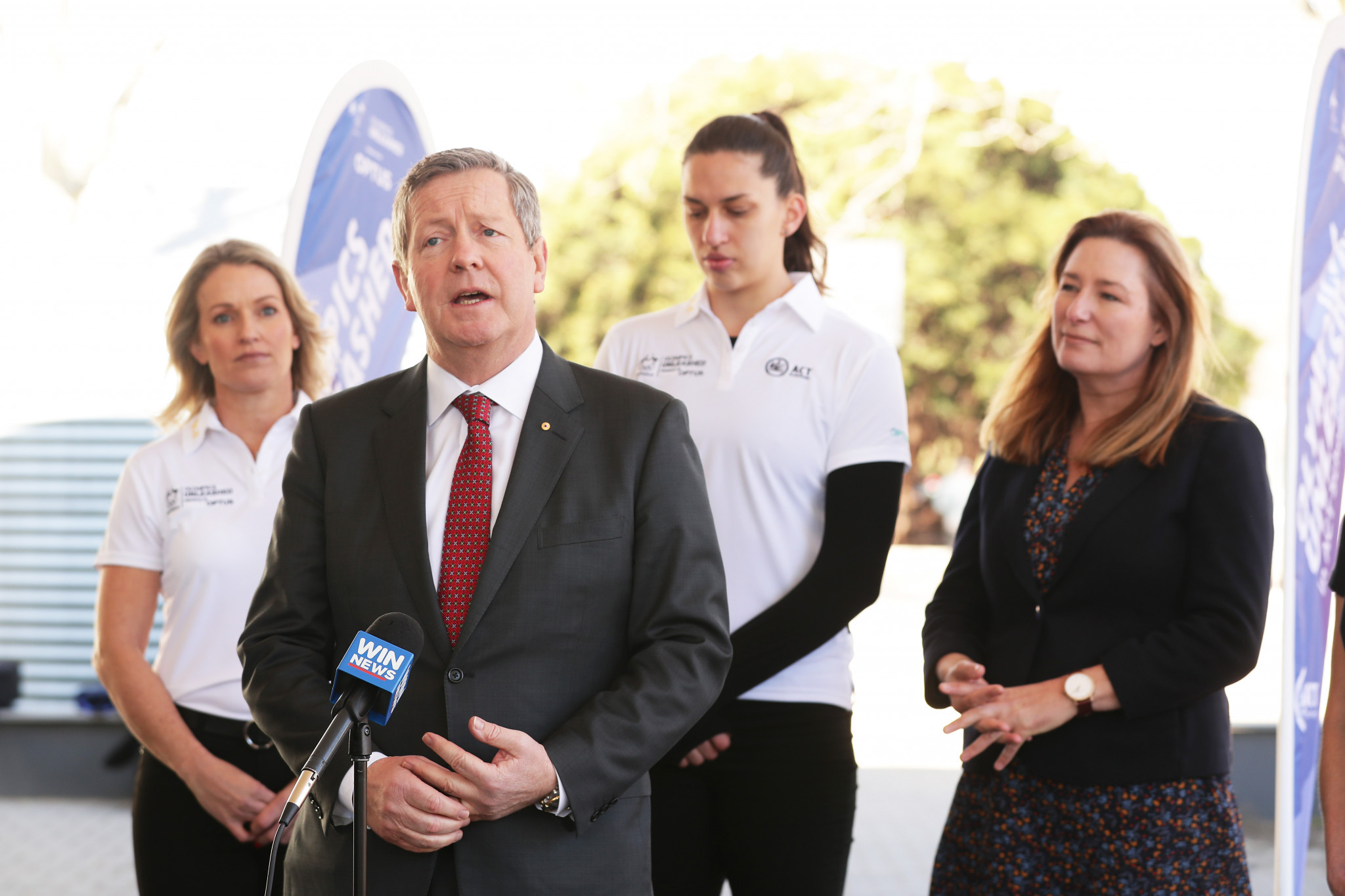 Australia Olympic Committee chief executive Matt Carroll speaks during the Olympic Unleashed unveiling at Ainslie School in Canberra ©Getty Images