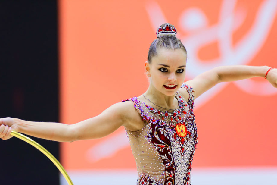 Arina Avelina had to settle for second place behind her twin sister Dina at Gymnastics Palace ©BGA