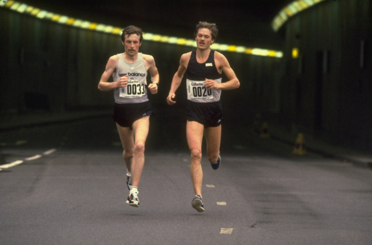 Dick Beardsley, left, and Inge Simonsen en-route to a famous finish at the first London Marathon in 1981 ©Getty Images