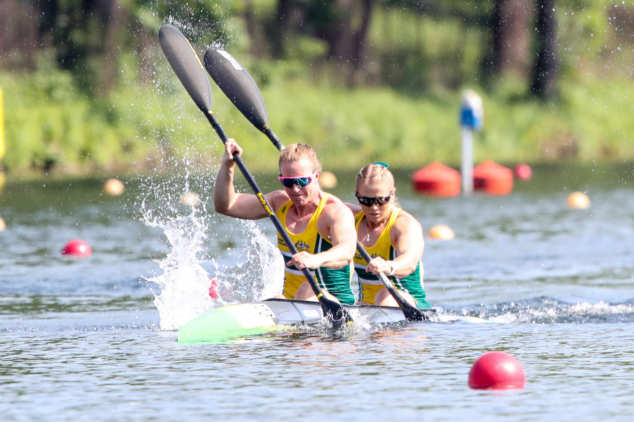 Brianna Massie, right, and Jo Brigden-Jones of Australia competed in the women's C2 race at the International Canoe Federation World Cup in Duisburg ©Bence Vekassy/Paddle Australia