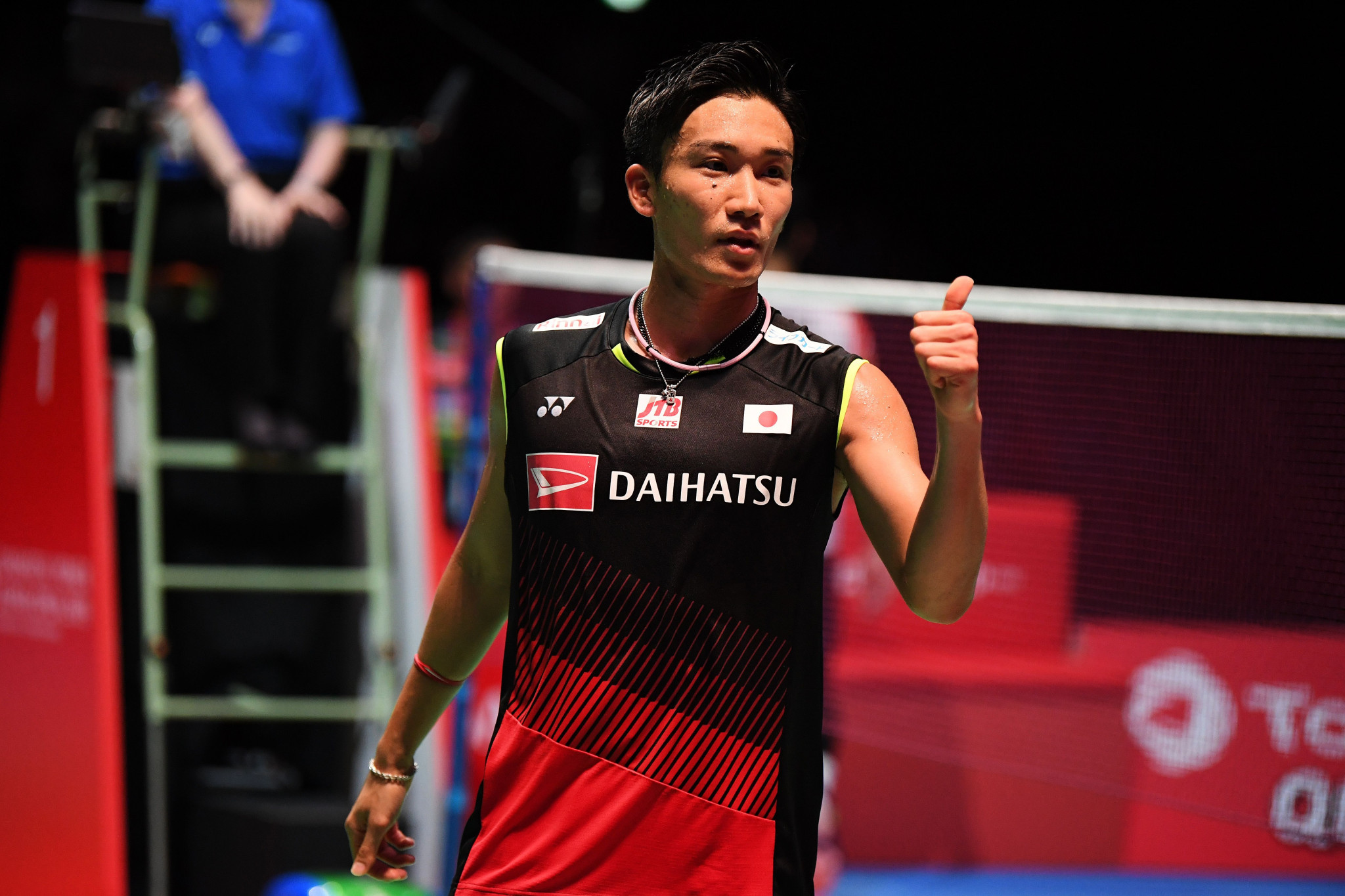 Japan's Kento Momota eased into the last 16 in Basel ©Getty Images