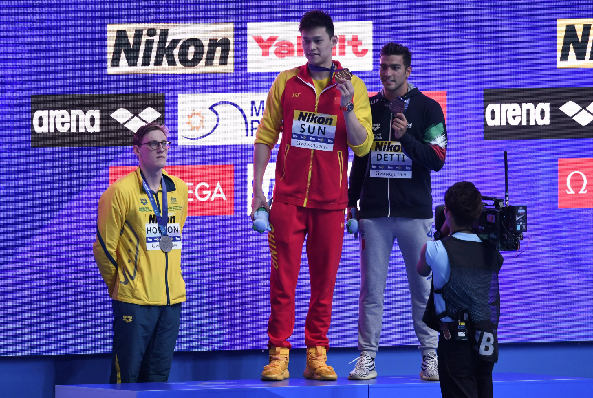 Sun Yang's appearance at the FINA World Championships in Gwangju last month sparked podium protests from other swimmers ©Getty Images