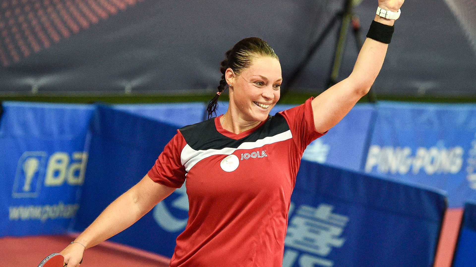 Home player Dana Cechova is through to the third preliminary round in the women's singles event ©ITTF/Lukas Kabon