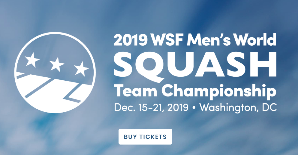 Tickets go on sale for Men's World Team Squash Championship in Washington D.C.