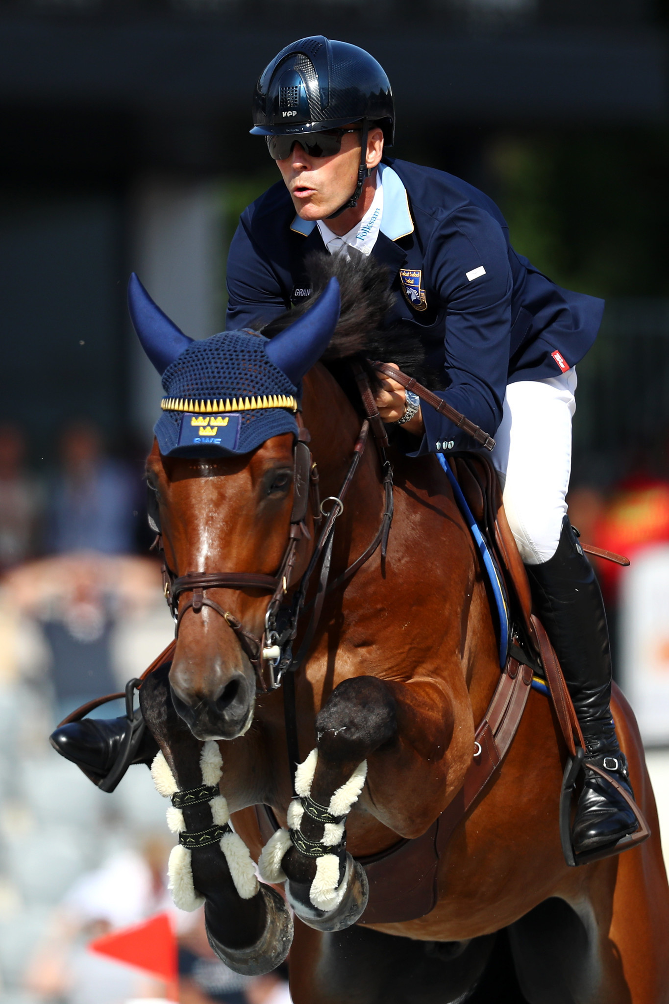 Peder Fredricson of Sweden, with H&M All In, dropped to eighth in the individual competition at Rotterdam Arena ©Getty Images