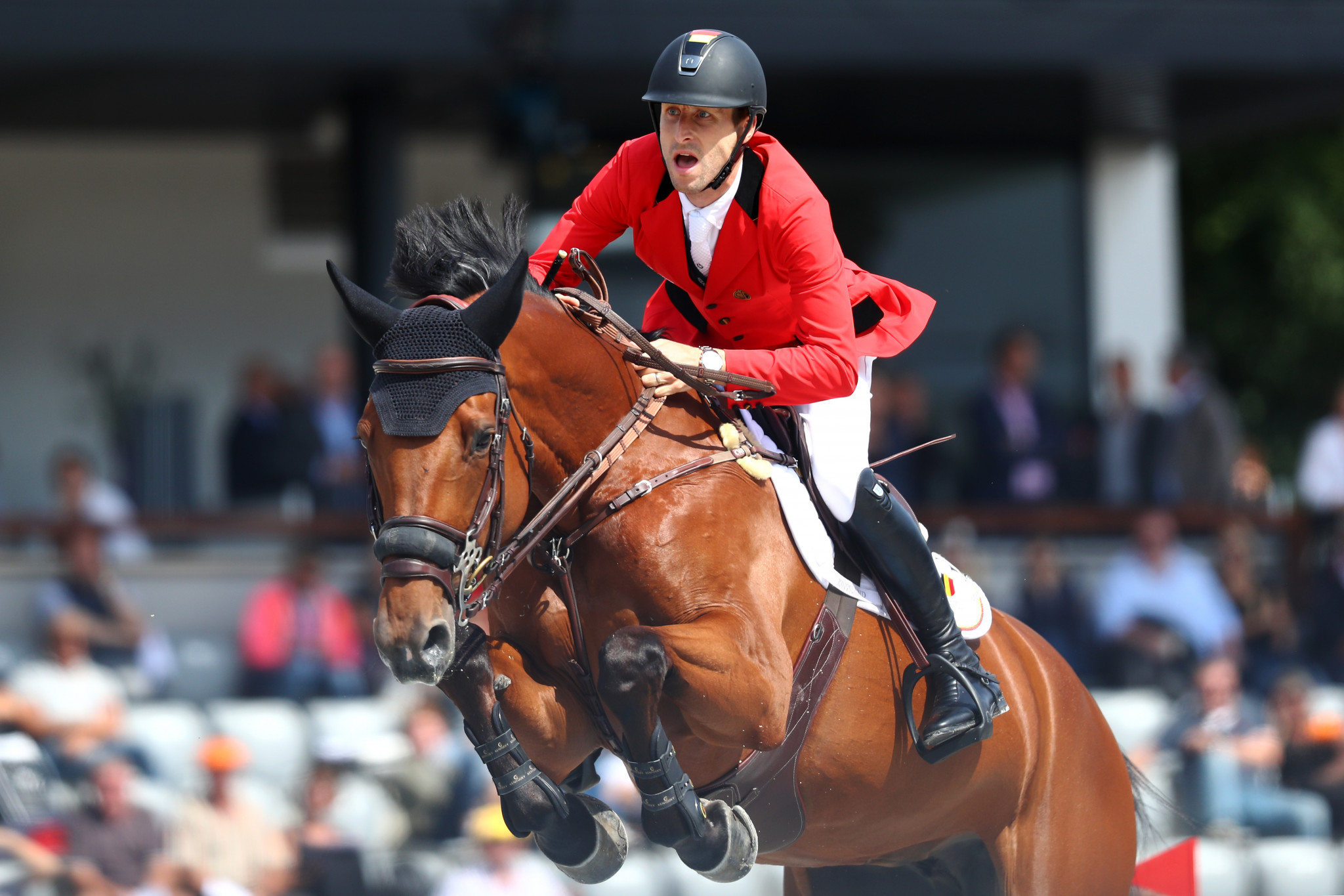 Pieter Devos of Belgium rides Claire Z to a clear round ©Getty Images
