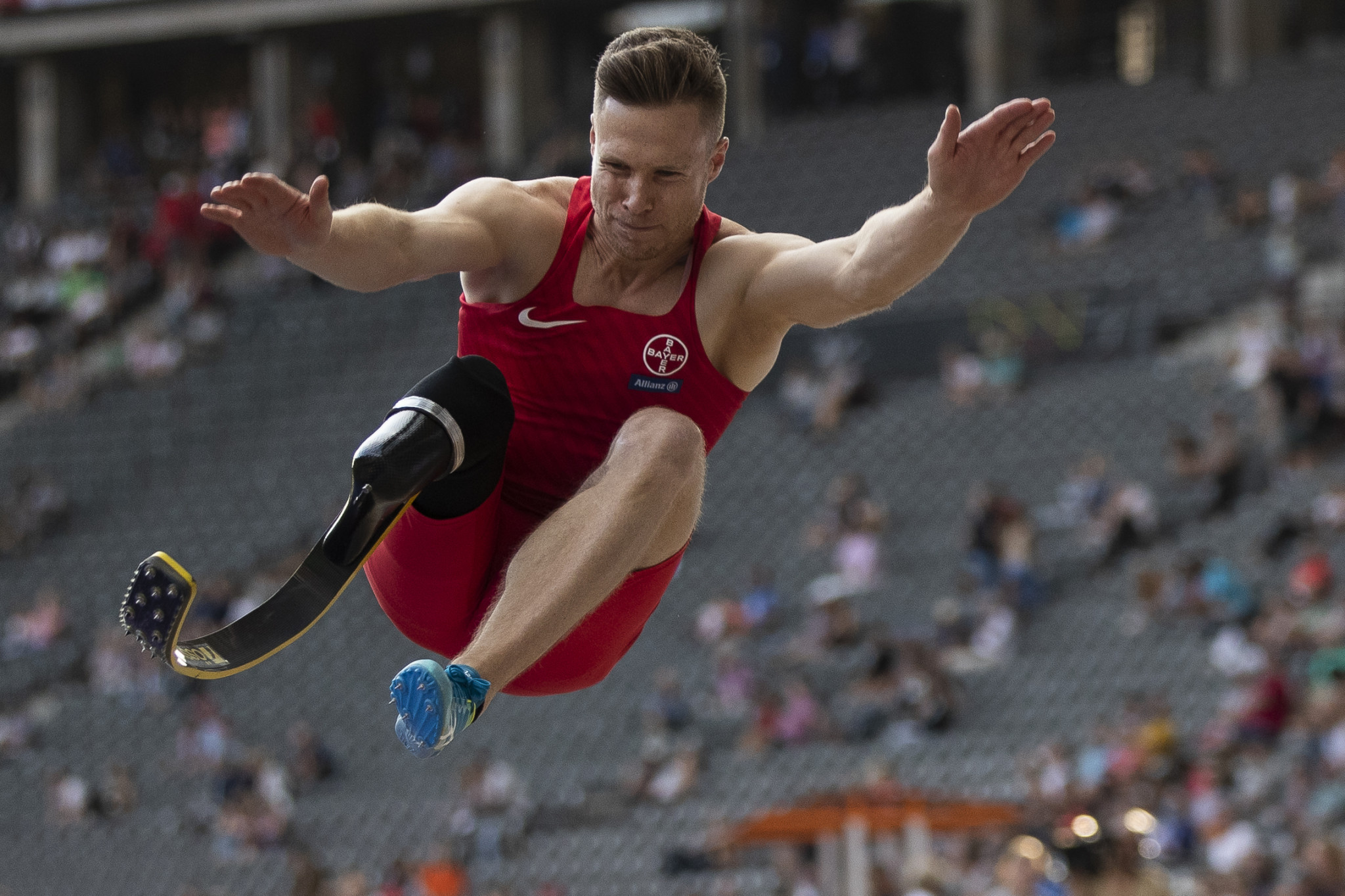 Germany's three-time Paralympic gold medal winning long jumper Markus Rehm  will aim to break his current T64 world record jump of 8.48 metres at a special event in Tokyo to mark one year until the start of the Paralympis ©Getty Images