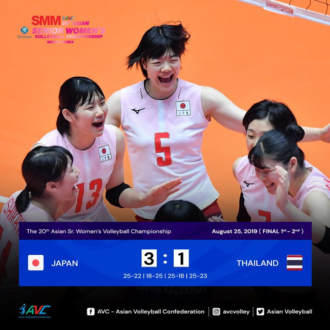 Japan beat Thailand to defend Asian Women's Volleyball Championship title