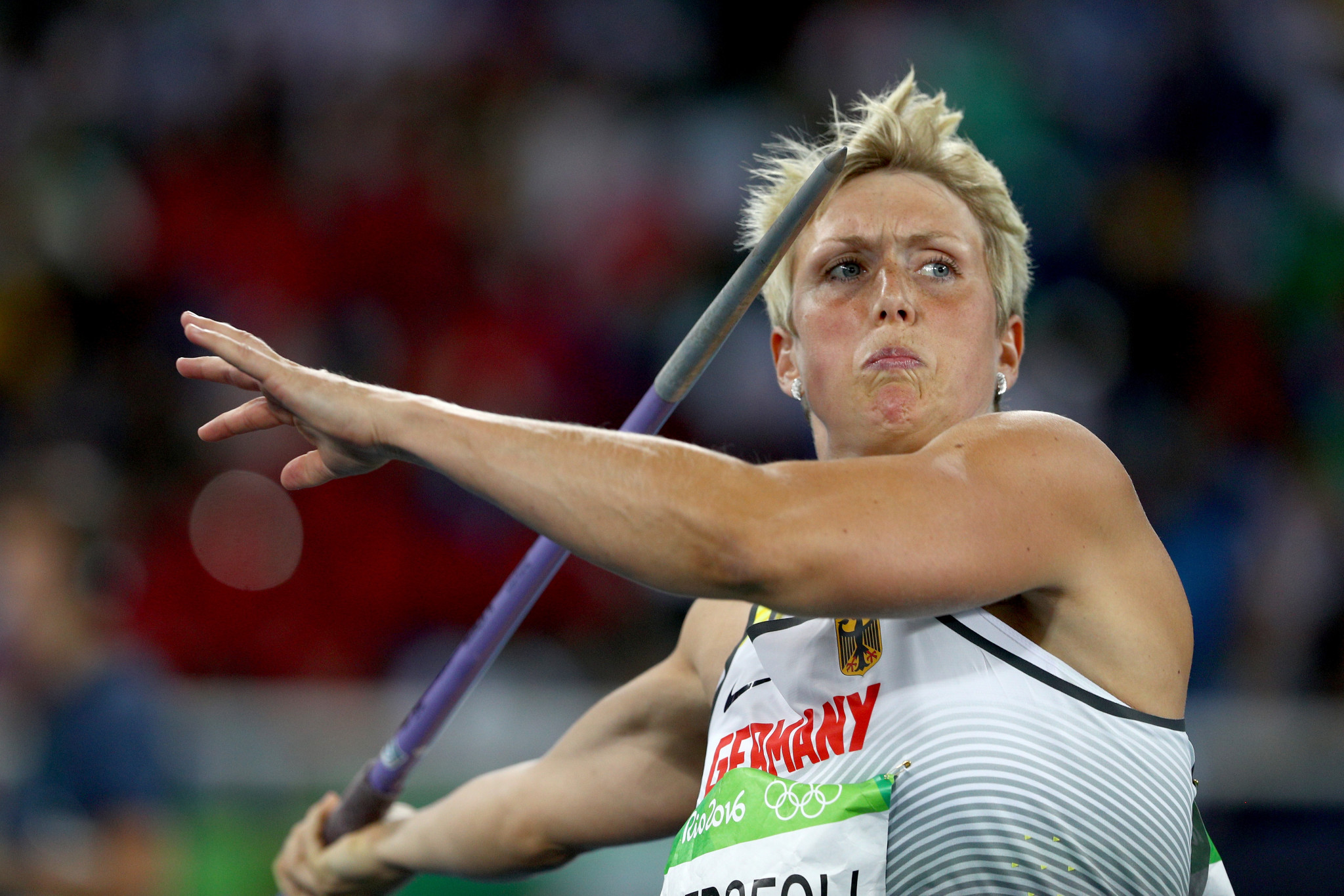German javelin thrower Christina Obergföll has received her silver medal ©Getty Images