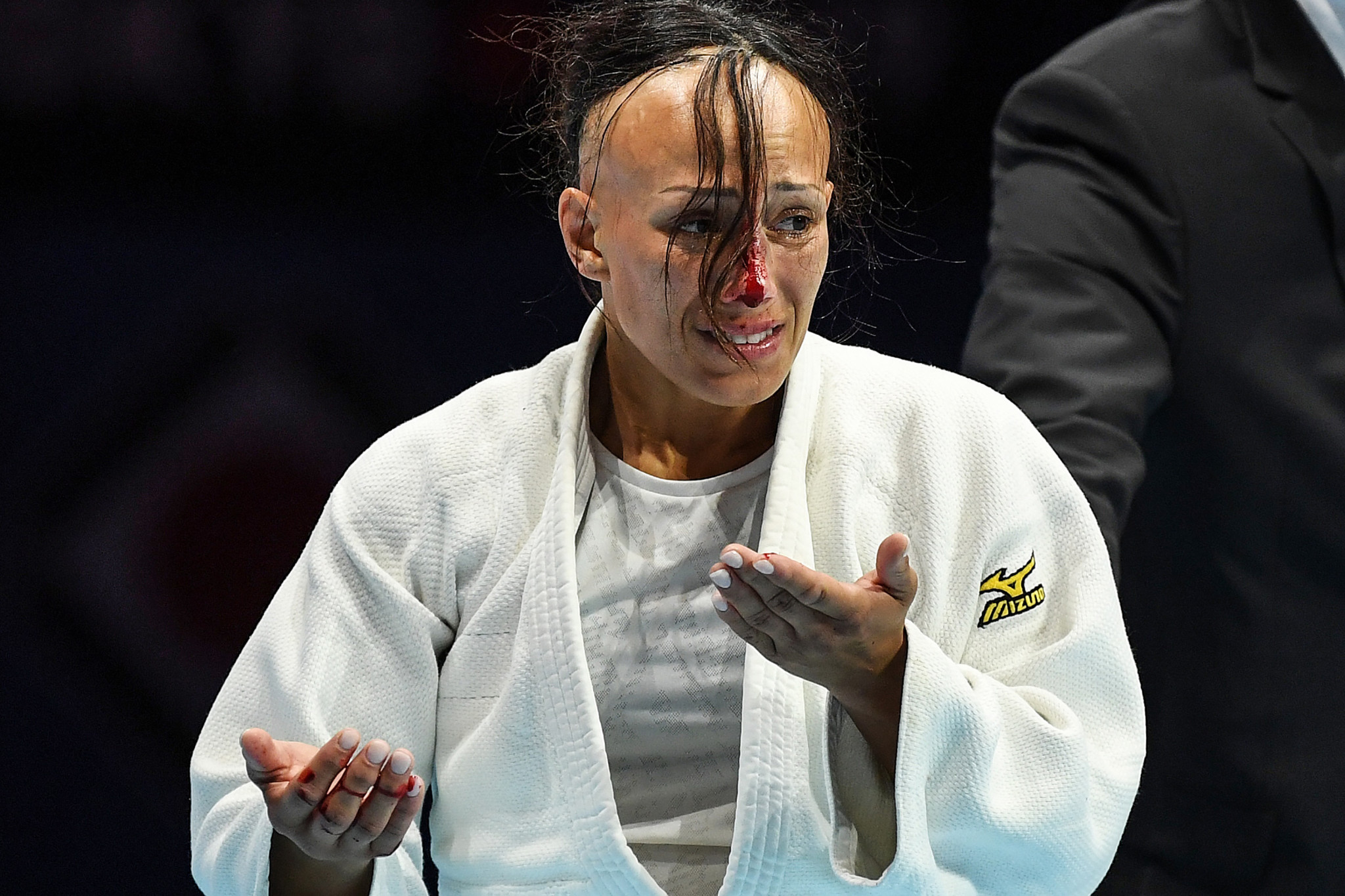 Mejlinda Kelmendi won bronze following a fight with a seven minute injury delay after Joana Ramos, pictured, suffered a broken nose ©Getty Images