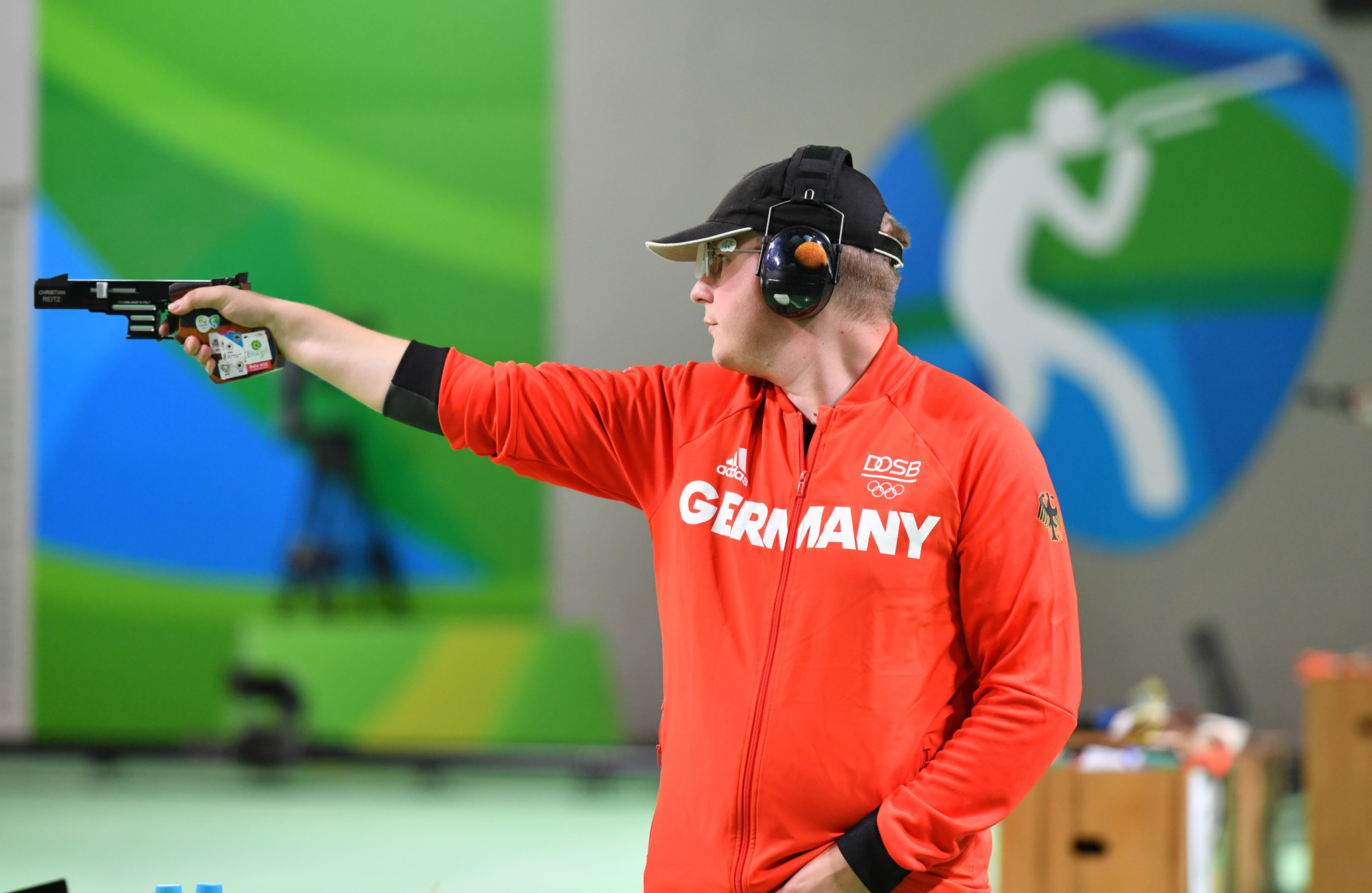 Olympic 25m rapid fire pistol champion Christian Reitz is among the Rio 2016 gold medallists competing this week ©Getty Images