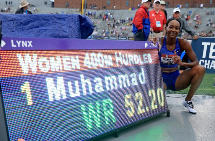 世界纪录保持者达利拉·穆罕默德(Dalilah Muhammad)在苏黎世400米栏中对抗强大的球场©Getty Images