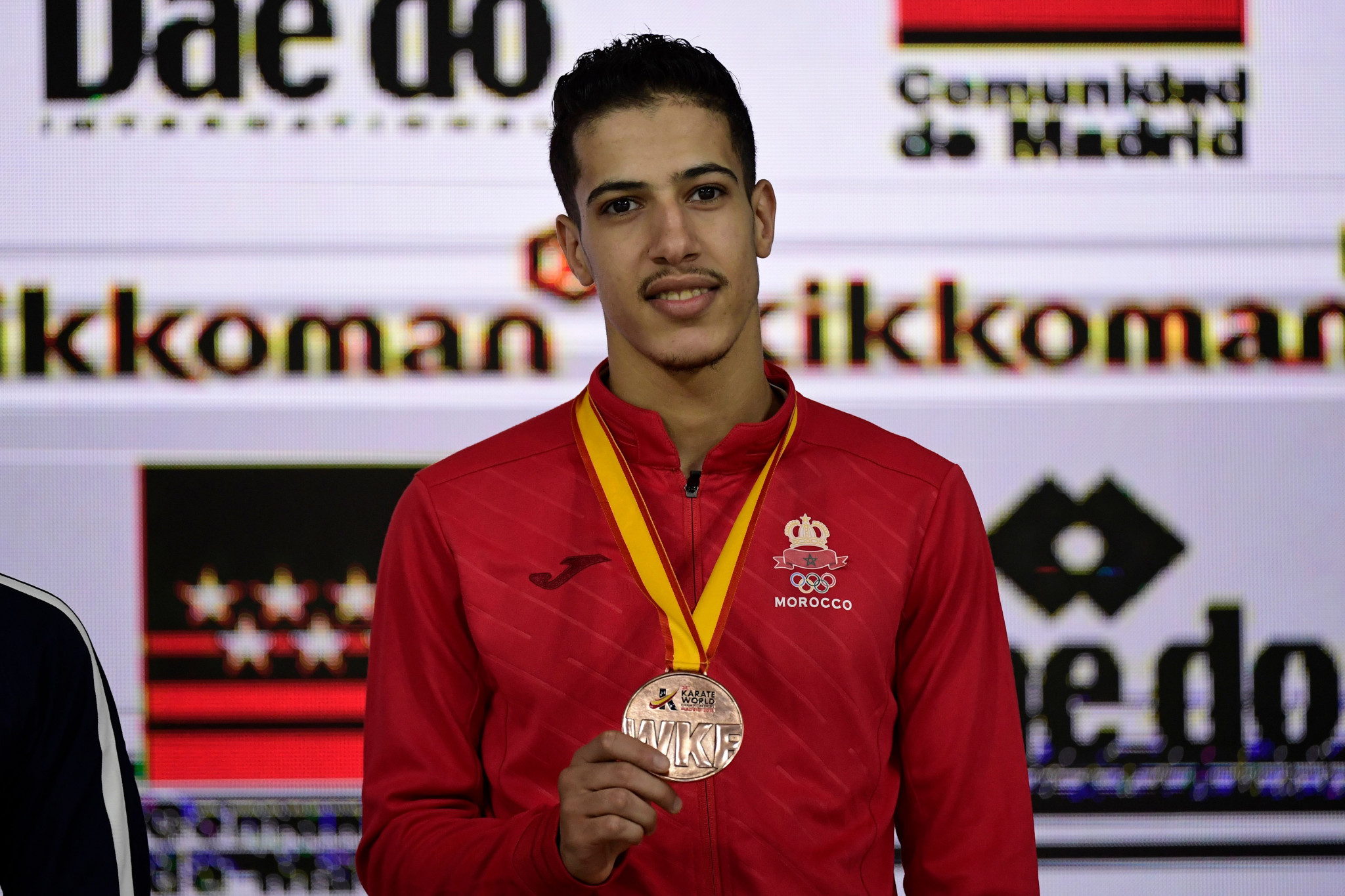 Morocco's Abdessalam Ameknassi, a 2018 world bronze medallist, had to settle for second place in the men's kumite under-60kg ©Getty Images