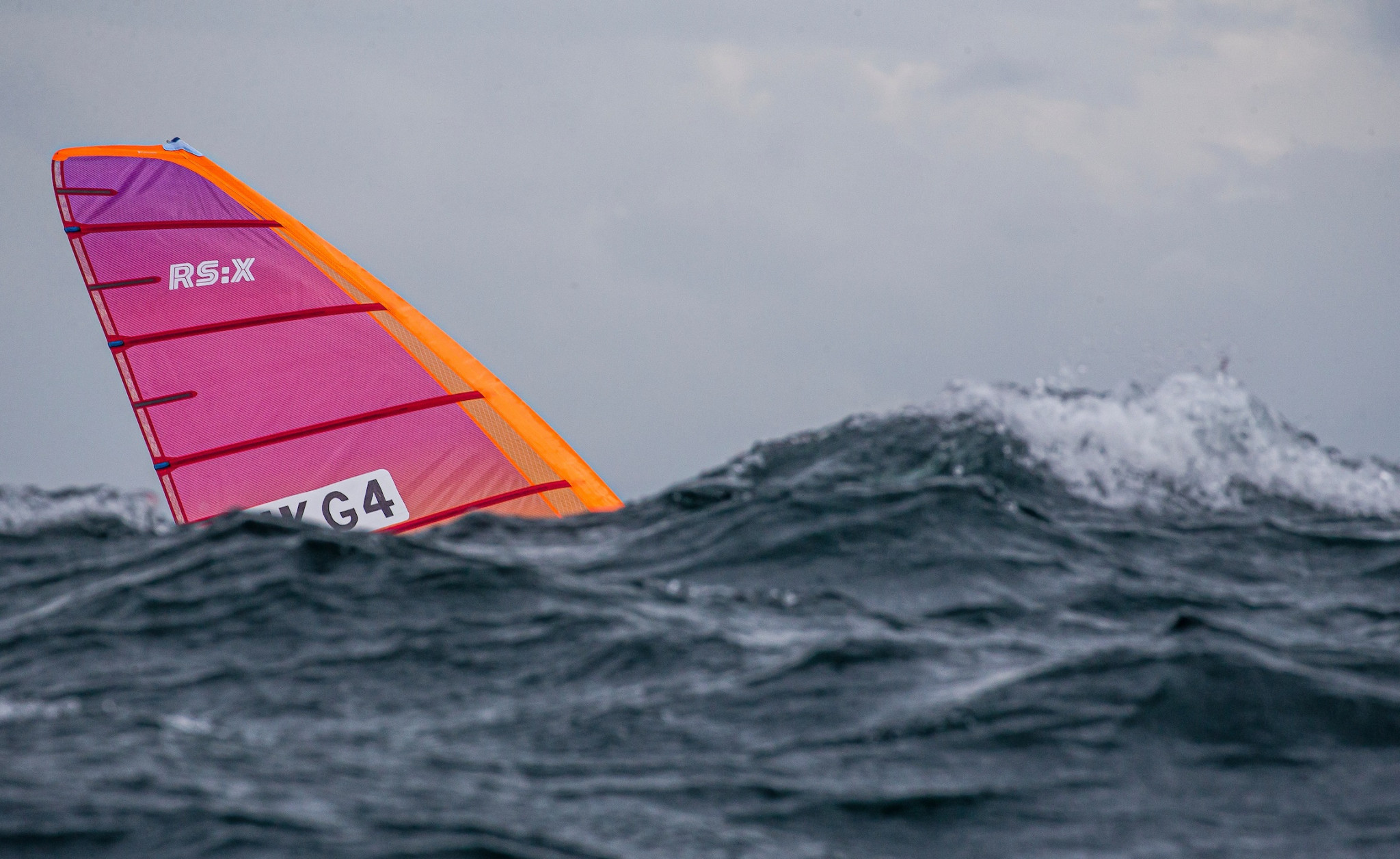 RS:X windsurfing action was possible in the challenging environment ©World Sailing