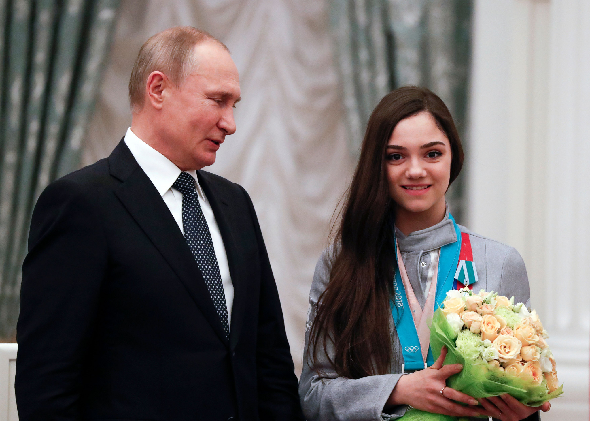 Evgenia Medvedeva, seen here with Russian President Vladimir Putin, spoke in support of the country before Pyeongchang 2018 ©Getty Images