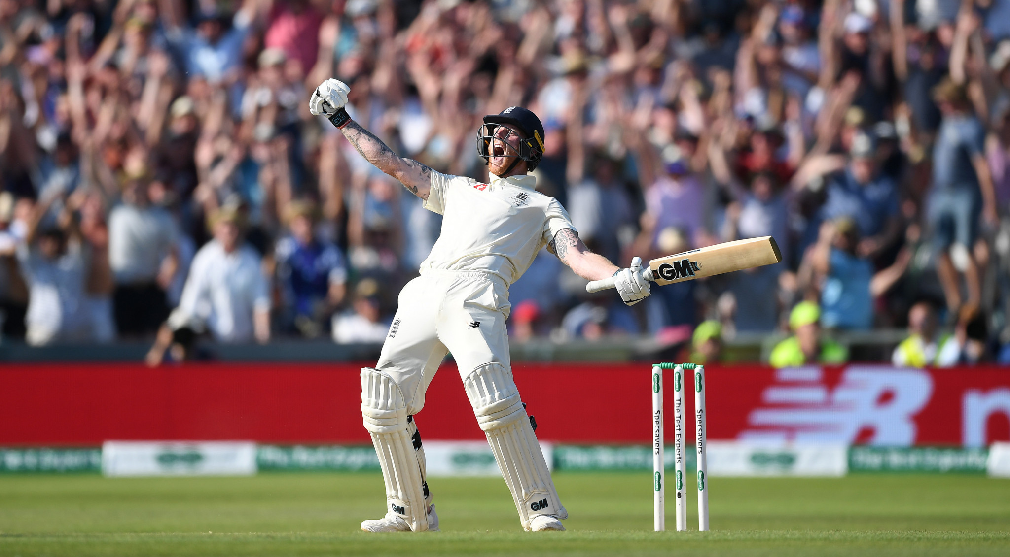 Ben Stokes celebrates his remarkable 135 not out, but it merely capped off an incredible five days of twists and turns ©Getty Images
