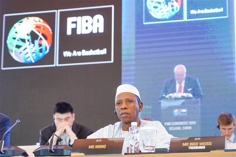 Hamane Niang was the only candidate for FIBA President and replaces Horacio Muratore ©FIBA