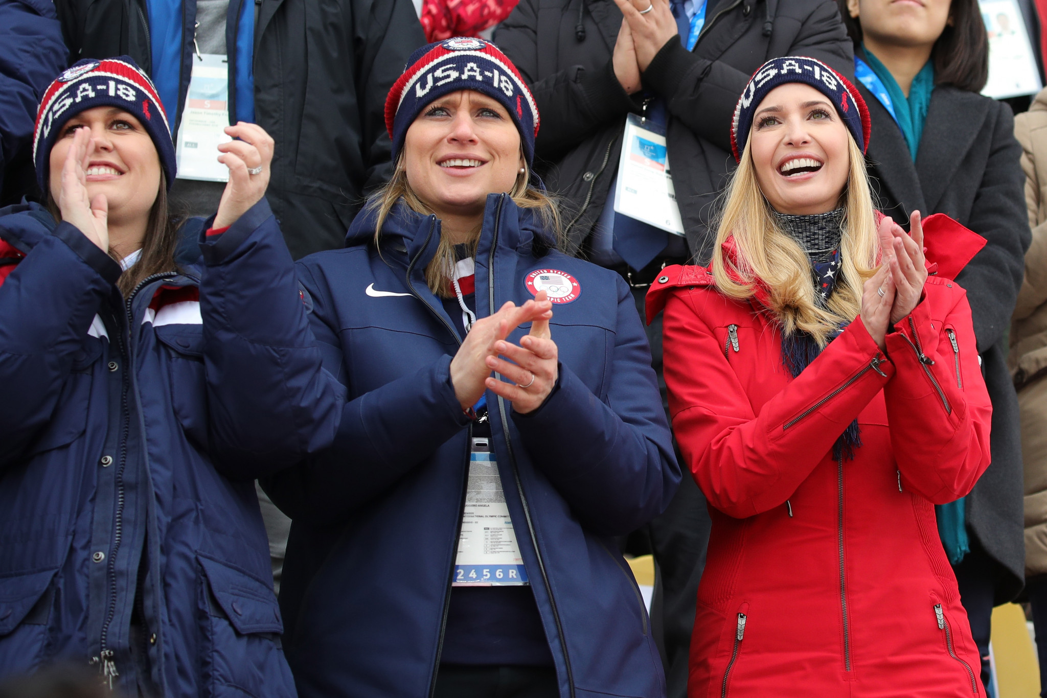 Angela Ruggiero, pictured centre with United States President Donald Trump's daughter Ivanka, right, during the Pyeongchang 2018 Winter Olympic Games, is considered a leading figure in the sports world ©Getty Images