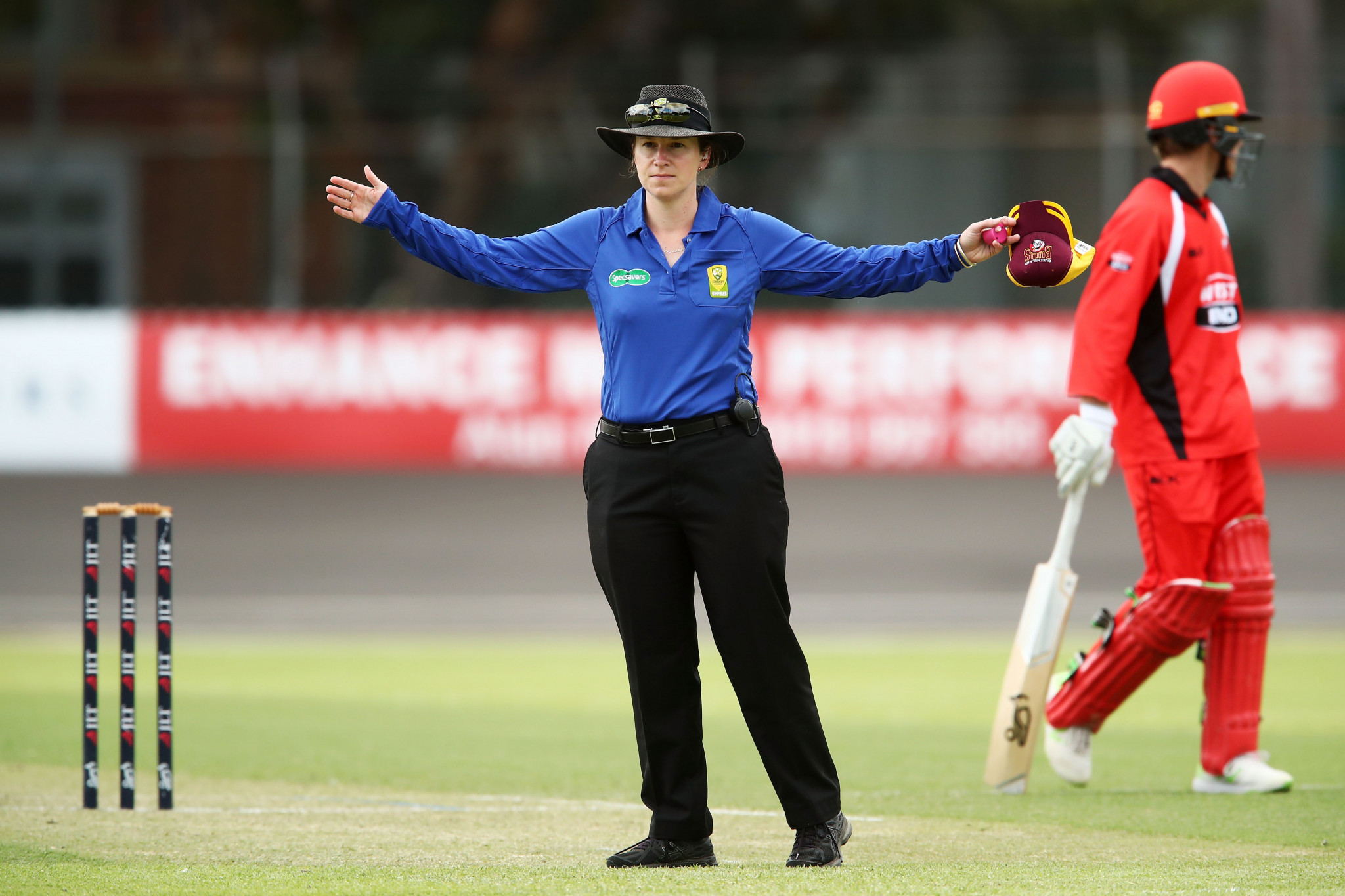 Claire Polosak became the first woman to umpire a men's one-day international earlier this year, in Namibia ©Getty Images