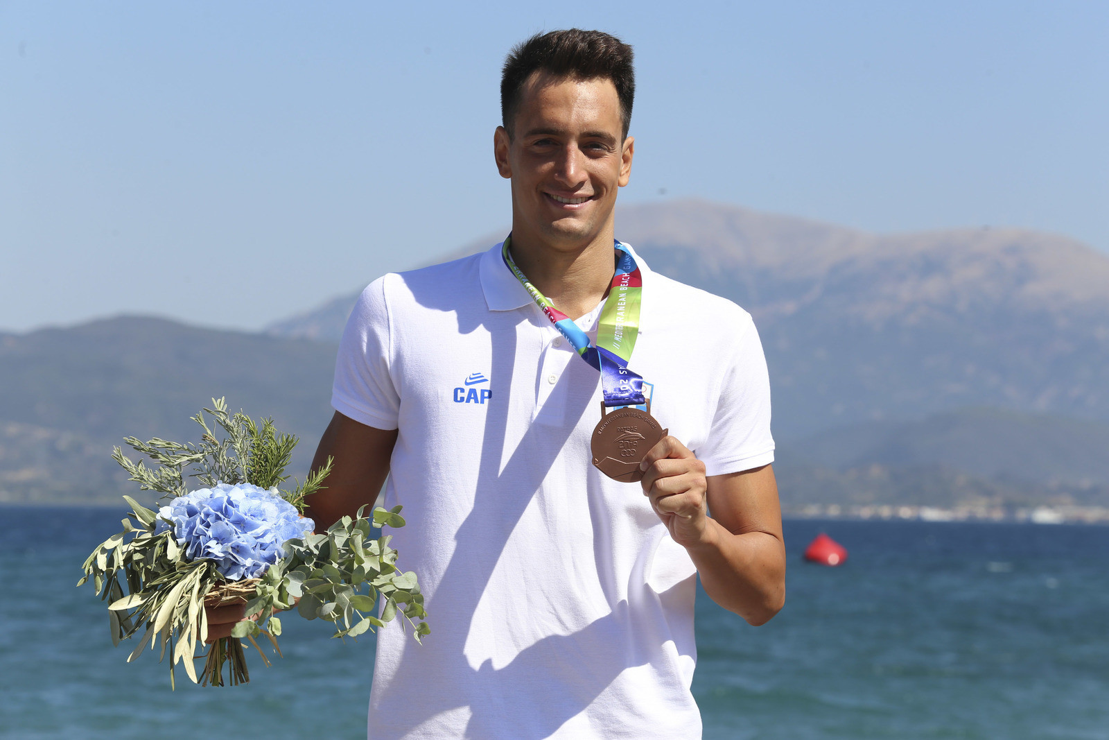 Greece's Georgios Arniakos was the only non-Italian medallist in the 5km open water swimming events after claiming the men's bronze ©Patras 2019