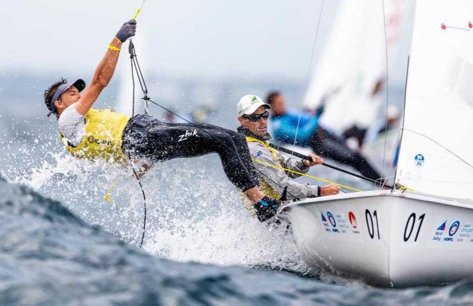 Australians Mat Belcher and Will Ryan lead the men's 470 class in Enoshima ©World Sailing