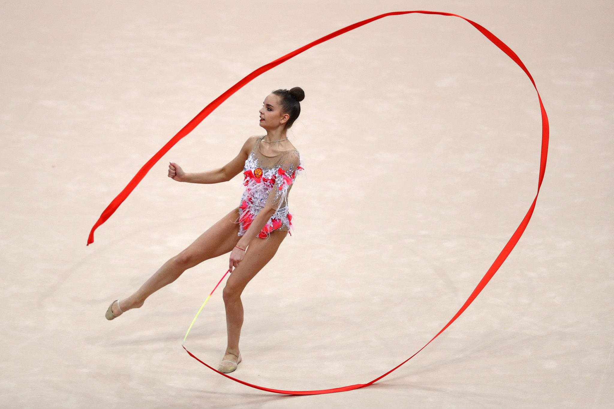 Dina Averina of Russia is leading the individual all-around competition ©Getty Images