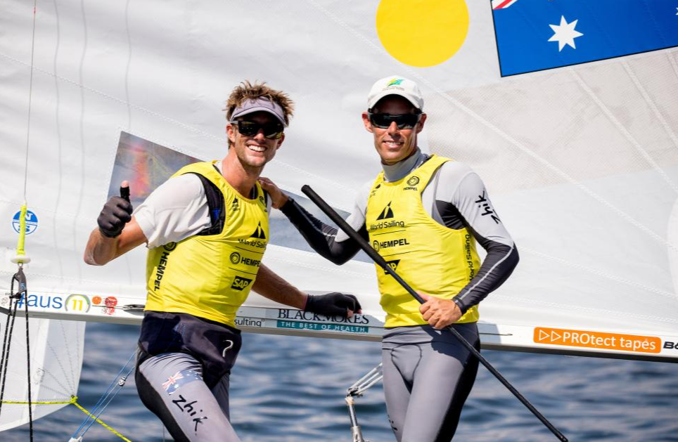 Australia's Mat Belcher and Will Ryan completed a superb hat-trick of consecutive wins on the Tokyo 2020 course ©World Sailing