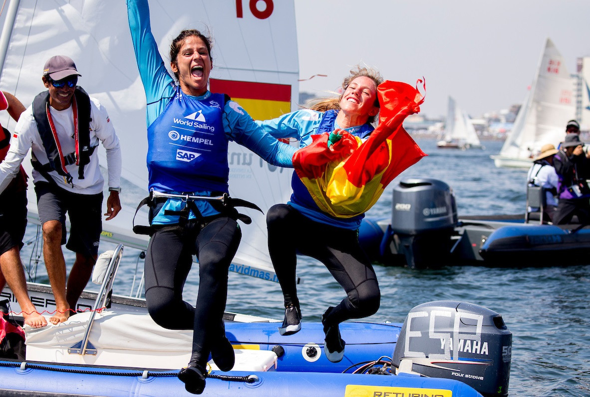 Spain's Silvia Mas and Patricia Cantero won the women's 470 title  ©World Sailing