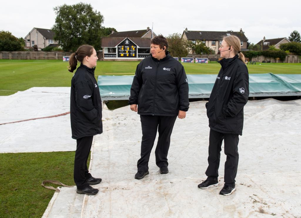 Groundstaff at Forfarshire Cricket Club in Dundee managed to make the pitch playable for Bangladesh's clash with Papua New Guinea ©Twitter/ T20WorldCup