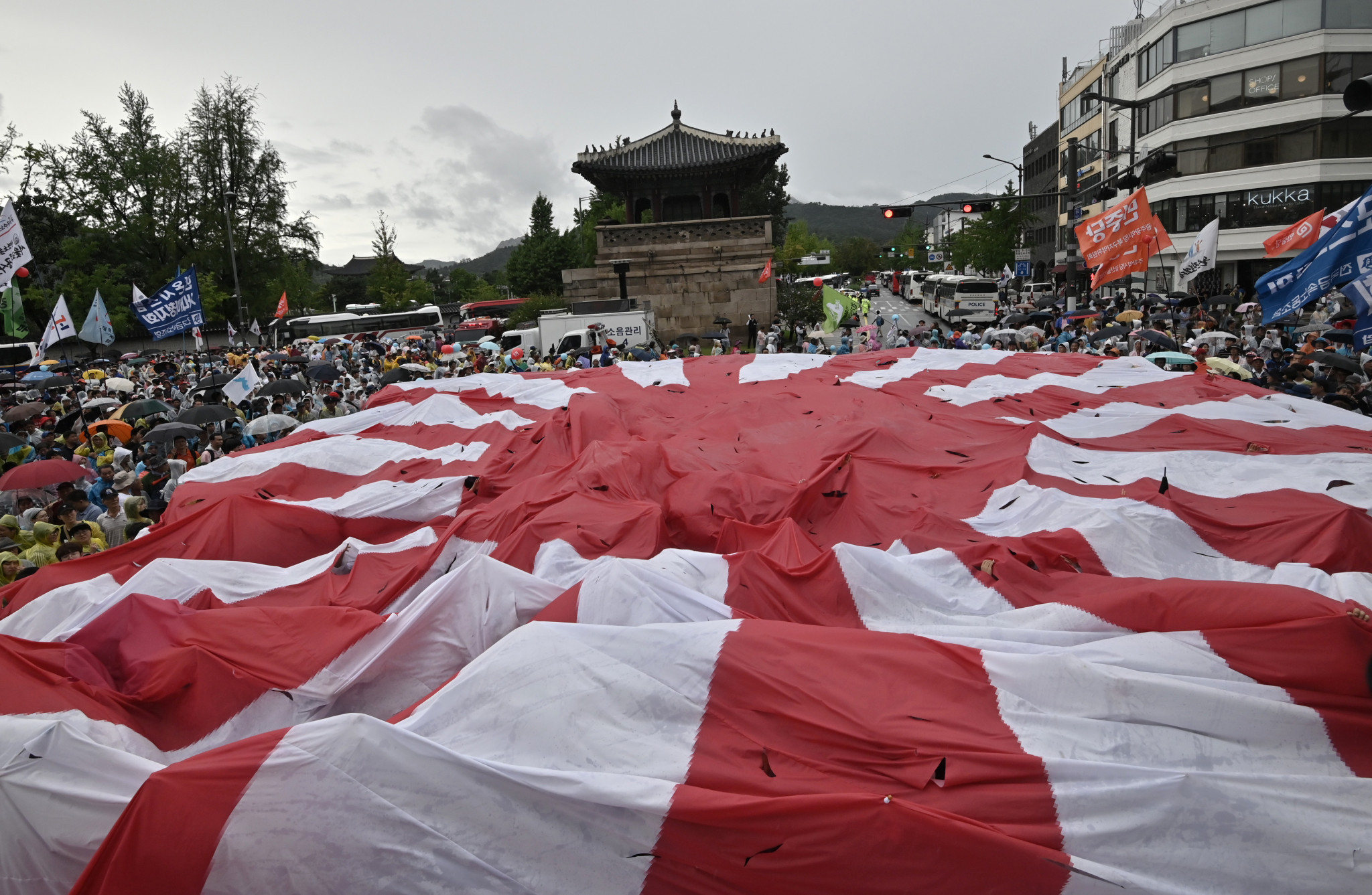 South Korean protesters destroyed a giant Rising Sun Flag last month ©Getty Images