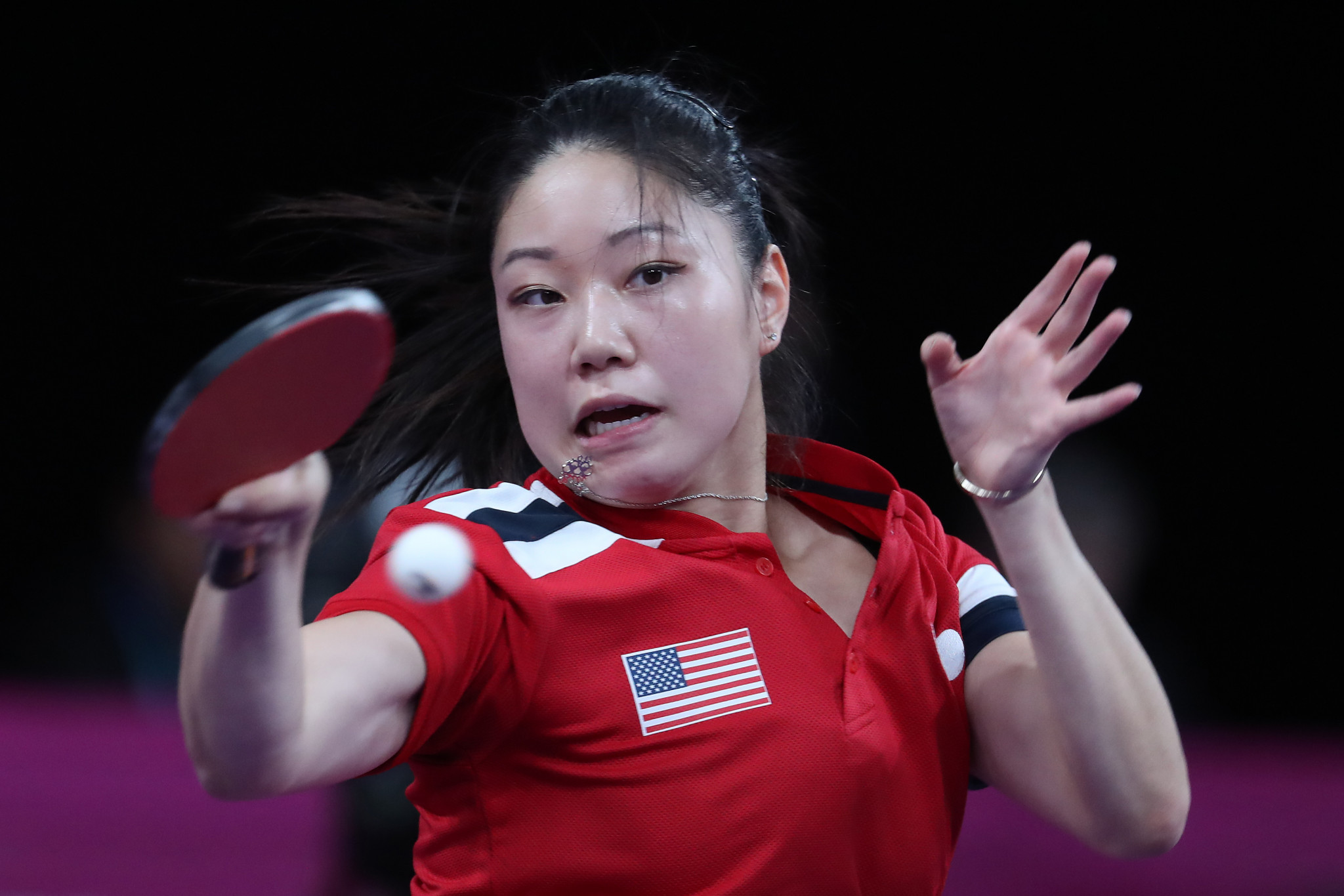 Lily Zhang defeated Brazilians Jessica Yamada and Caroline Kumahara as the United States won the women's team title ©Getty Images
