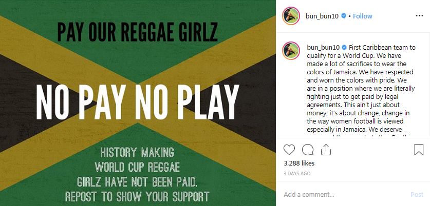 Khadija Shaw highlighted the payment dispute on Instagram ©Instagram