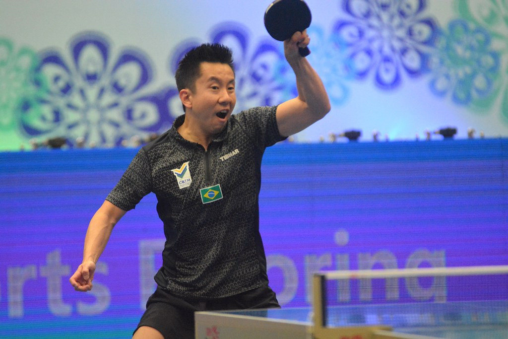 Second seed Gustavo Tsuboi of Brazil progressed to the last 16 of the men's singles draw in Paraguay ©ITTF