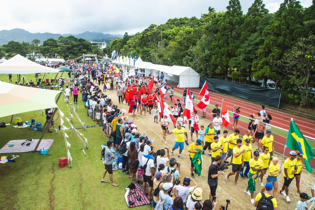 The opening day of the ISA World Surfing Games in Miyazaki got underway with a Parade of Nations involving representatives from the 55 competing countries ©ISA