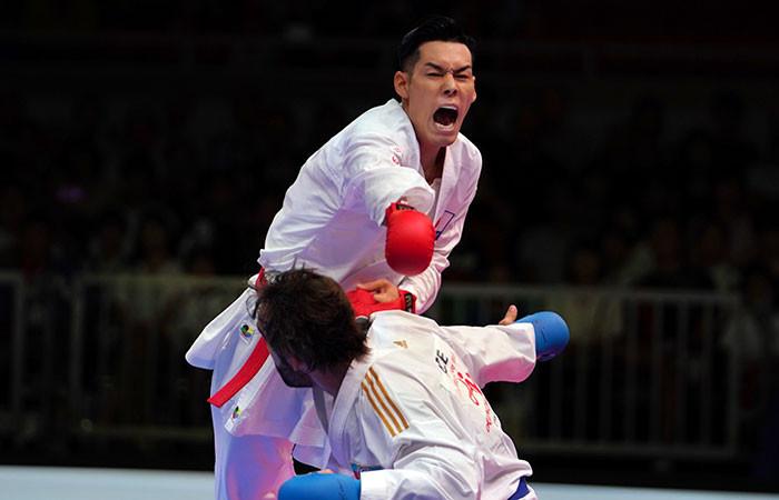 Japan's Ken Nishimura beat Rafael Aghayev of Azerbaijan in the men's under-75kg gold medal bout ©WKF