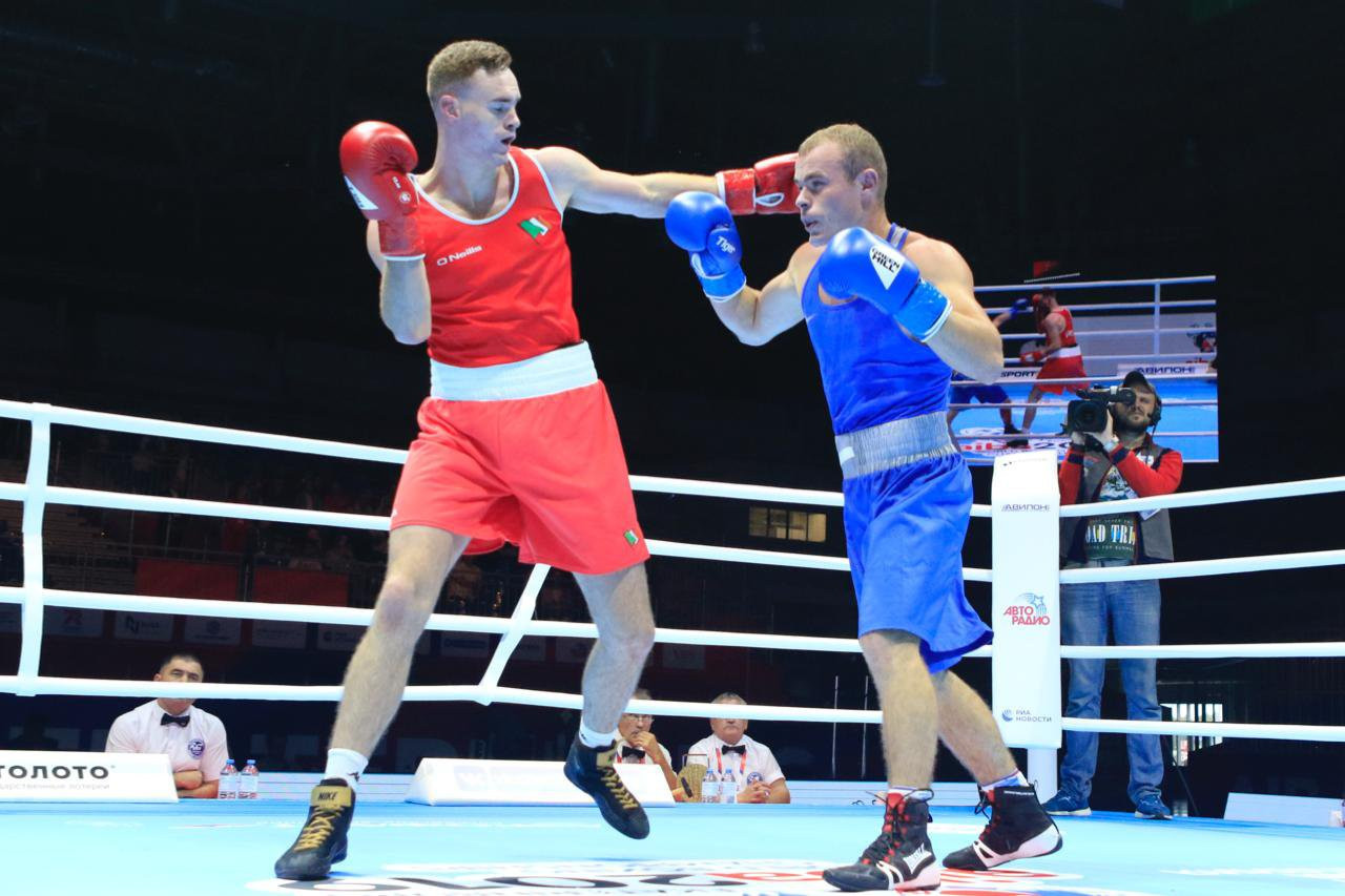 Irish middleweight boxer Michael Nevin overcame Andrei Vreme of Moldova in the first round of the AIBA Men's World Boxing Championships ©Yekaterinburg 2019