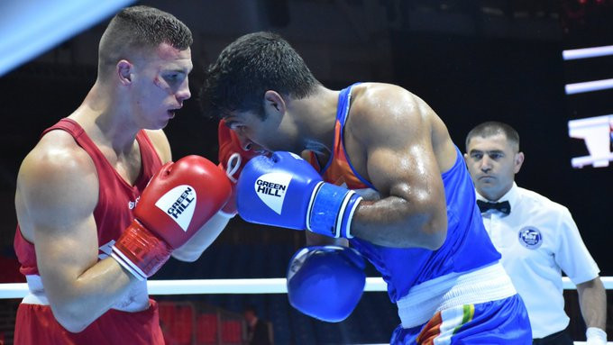 India's Brijesh Yadav, blue, secured a unanimous victory over Mateusz Goiński of Poland ©Boxing Federation of India