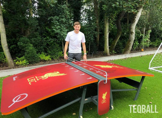 Gerrard shows off Liverpool-themed table as teqball grips Premier League players