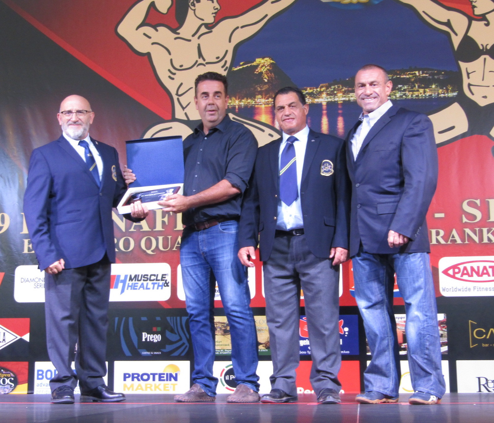 Nafplio Mayor Dimitros Kostouros was among those to attend and was presented with the IFBB Spirit of Sport Award ©IFBB