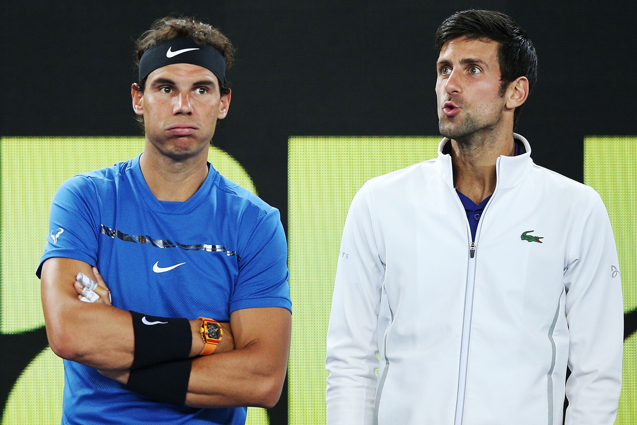 Novak Djokovic, right, doesn't make Bercow's top 10, while Rafael Nadal is number two ©Getty Images