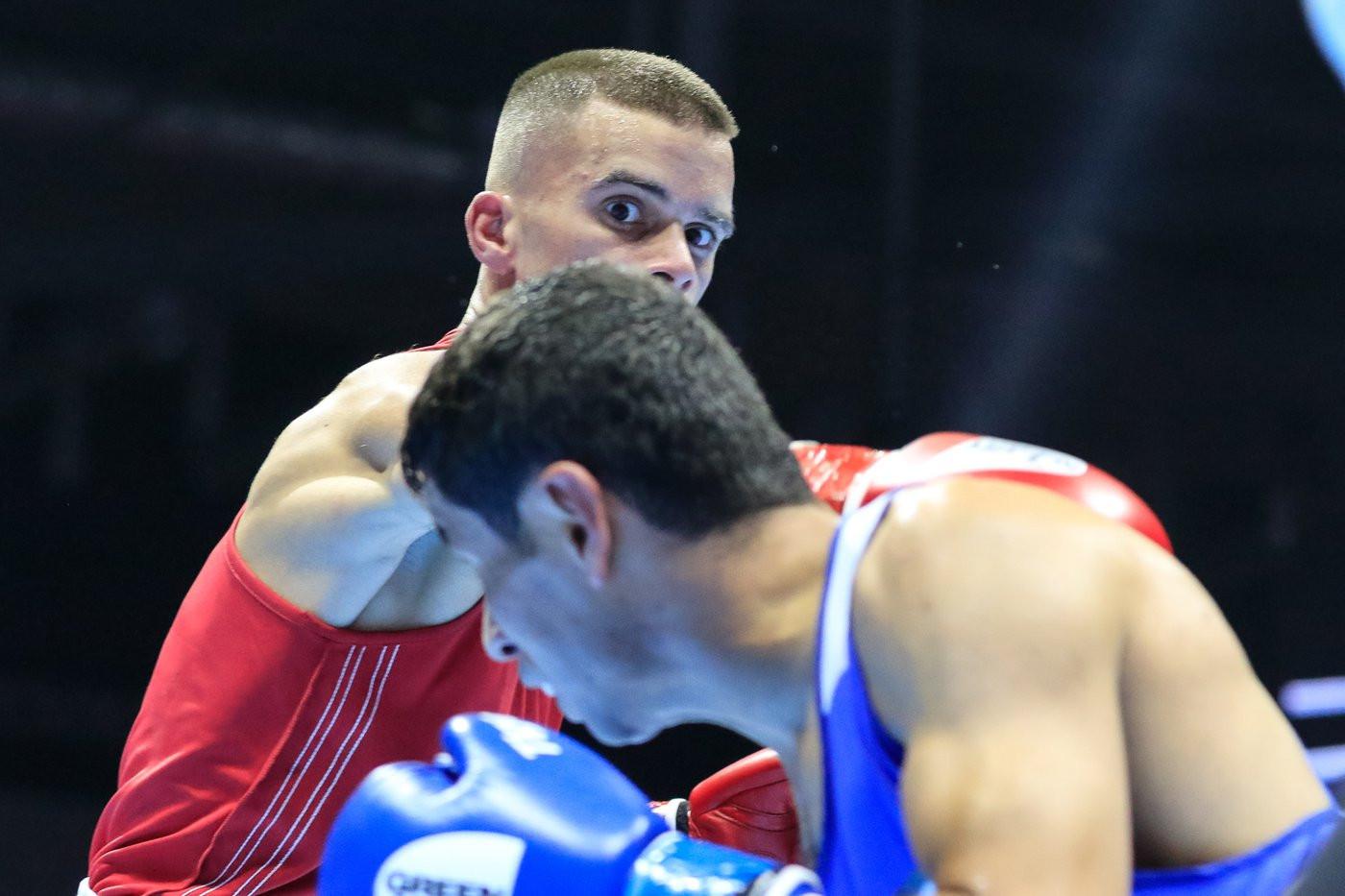 Croatia's Ramon Ferati in red came up against Mohammad Abdelaziz Alwadi of Jordan ©Yekaterinburg 2019