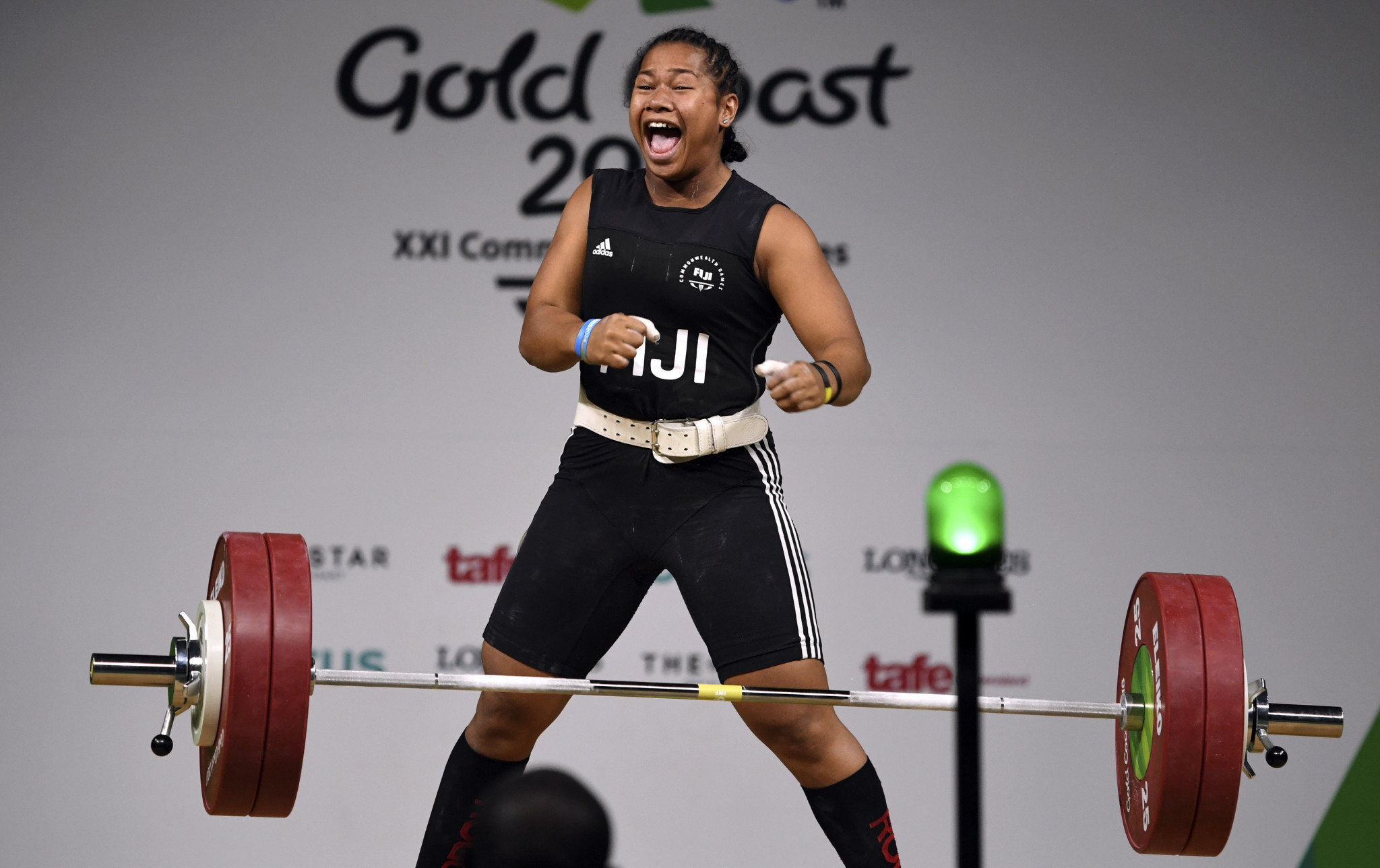 Eileen Cikamatana won gold for Fiji at the 2018 Commonwealth Games in the women's 90kg weightlifting final ©Getty Images