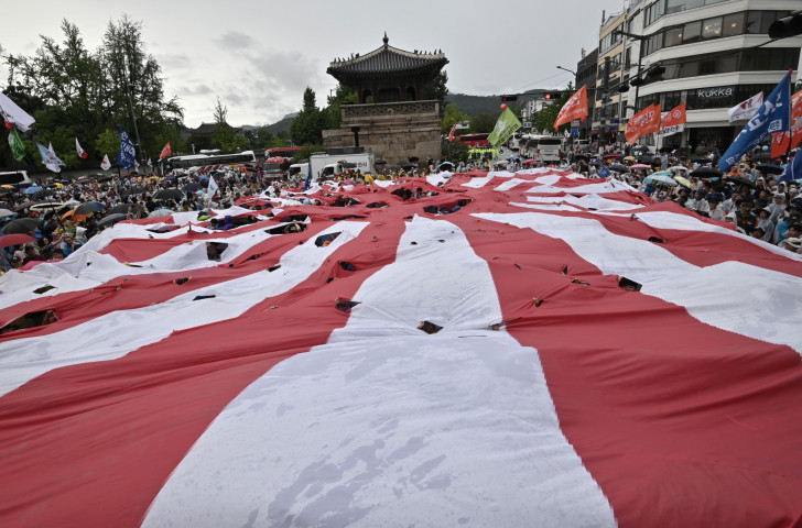 South Korean protesters tear a Rising Sun flag in August on the anniversary of the end of Japan's occupation of their country in 1945 ©Getty Images