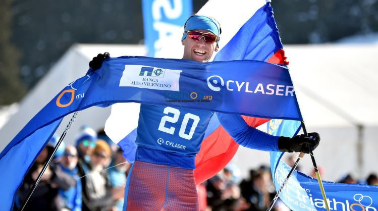 Pavel Andreev of Russia won the men's title for the seventh time at the 2019 Winter Triathlon World Championships in Asiago ©World Triathlon