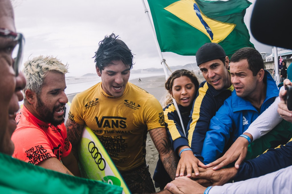 Brazil and United States closing on team gold at World Surfing Games