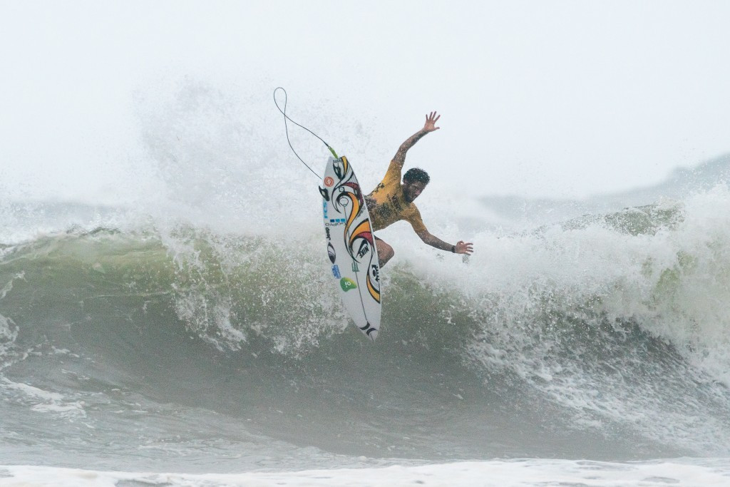 Brazil's Filipe Toledo posted the top score on the penultimate day of competition at the ISA World Surfing Games in Miyazaki, Japan ©ISA