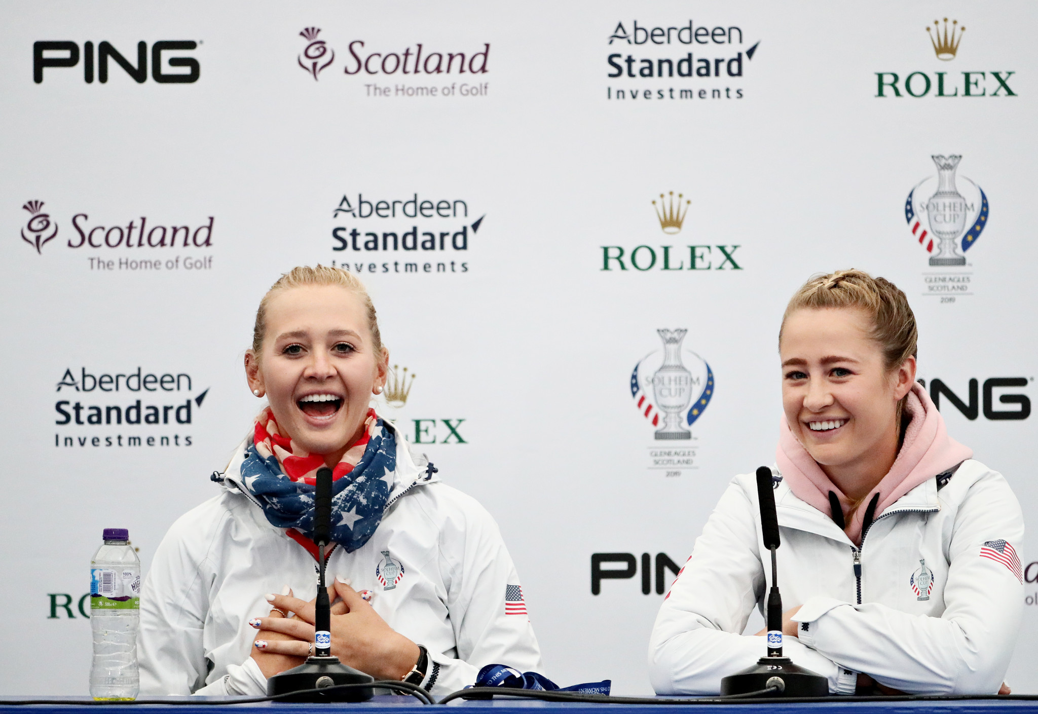 Jessica, left, and Nelly Korda were in superb form on day two of the Solheim Cup ©Getty Images