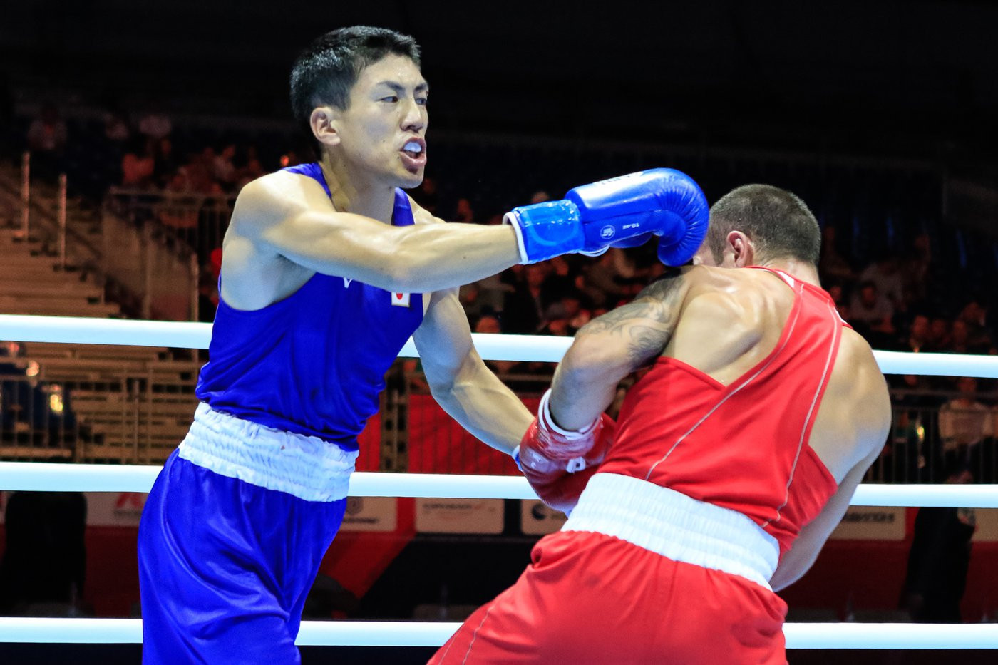 Daisuke Narimatsu of Japan defeated Otar Eranosyan 4-0, knocking the light welterweight fifth seed out of the competition ©Yekaterinburg 2019