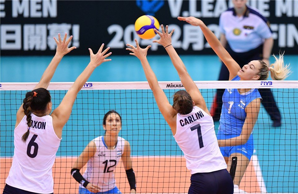 United States beat Argentina to remain undefeated ©FIVB