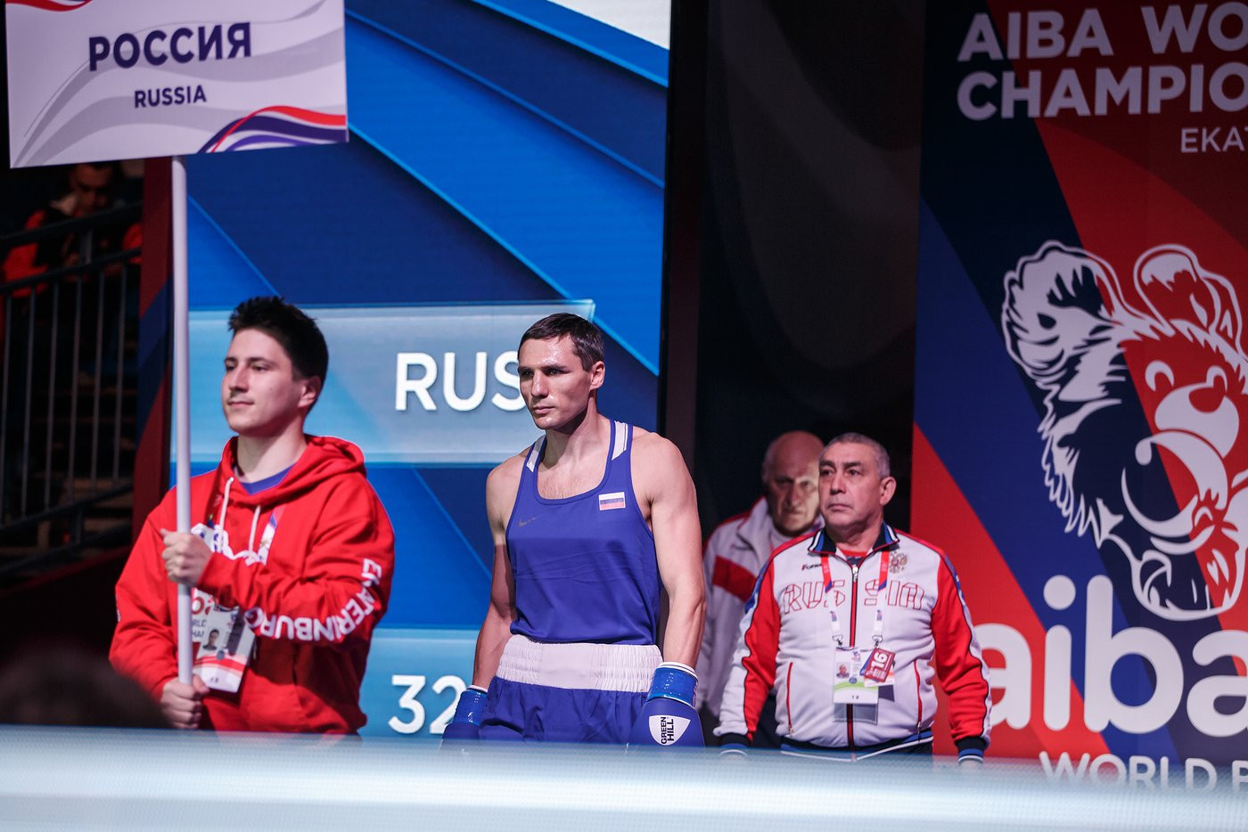 The atmosphere intensified when home favourite Andrei Zamkovoi walked out for his clash ©Yekaterinburg 2019